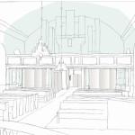 Tidig skiss, Skrea kyrka