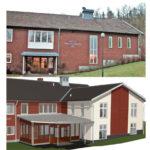 Före och efter tillbyggnad,  Sätila församlingshem